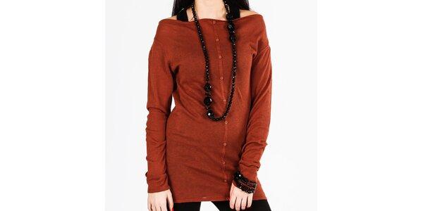 Dámský hnědý dlouhý svetr s knoflíky Gémo