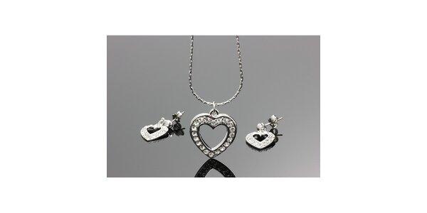 Dámský set - srdcové náušnice a řetízek s přívěskem Swarovski