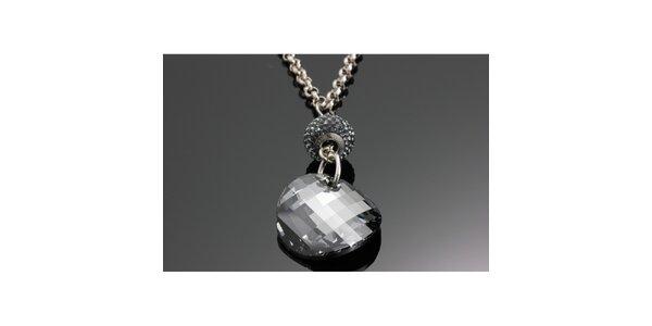 Dámský řetízek s černým krystalem Swarovski