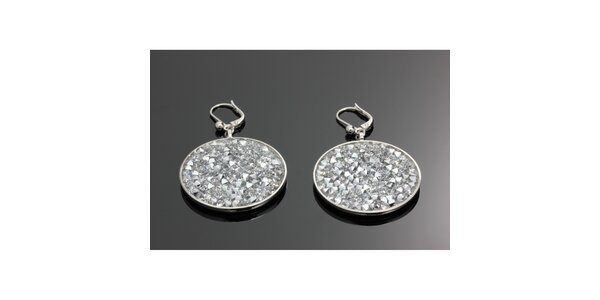 Dámské kulaté náušnice se stříbrnými krystalky Swarovski