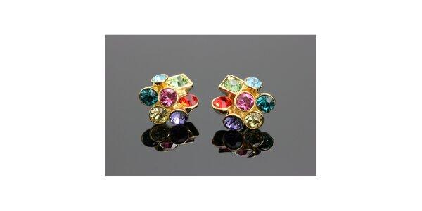 Dámské zlaté náušnice s barevnými krystalky Swarovski