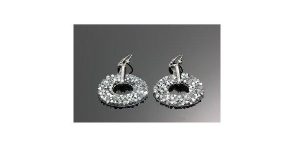 Dámské stříbrné kulaté náušnice s krystalky Swarovski