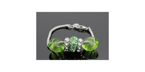 Dámský náramek Swarovski se světle zelenými ozdobami