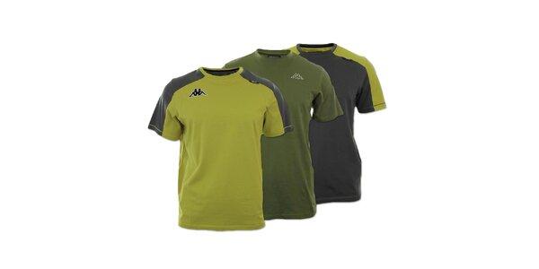 Set tří pánských triček Kappa - khaki, zelenošedé a šedozelené