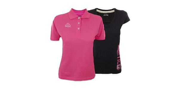 Set dvou dámských triček Kappa - růžové, černé
