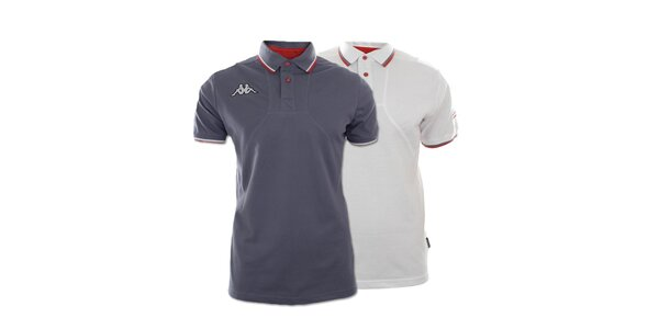Set dvou pánských polo triček Kappa - šedé, bílé