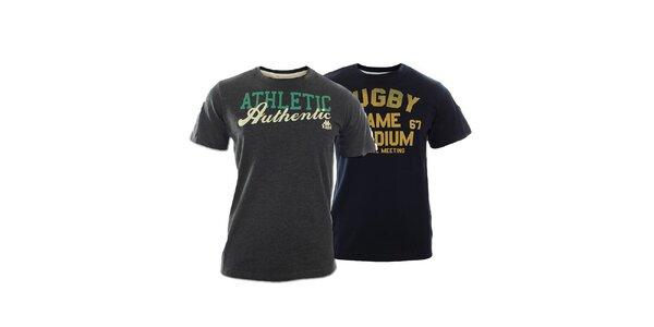 Set dvou pánských triček Kappa s nápisy - šedé, modré