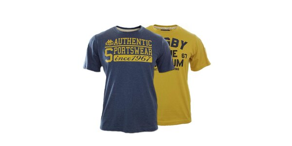 Set dvou pánských triček Kappa s nápisy - hořčicové, modré