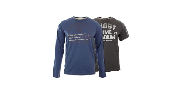 Set dvou pánských triček Kappa - modré, šedé