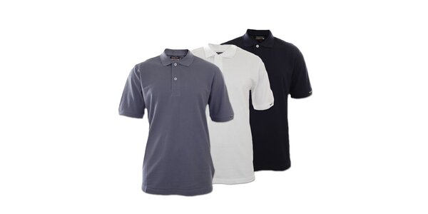Set tří pánských polo triček Kappa - tmavě modré, bílé, šedé