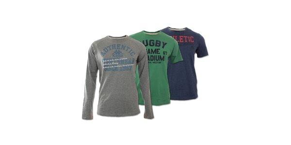 Set tří pánských volnočasových triček Kappa - šedé, modré, zelené