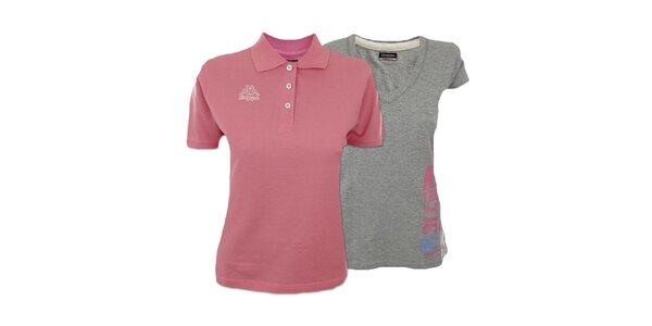 Set dvou dámských triček Kappa - šedé, růžové