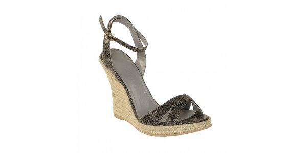 Dámská letní obuv značky Vkingas na jutovém klínu v imitaci šedé hadí kůže