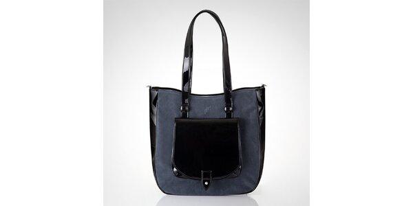 Dámská černá kabelka s šedou semišovou částí Felice