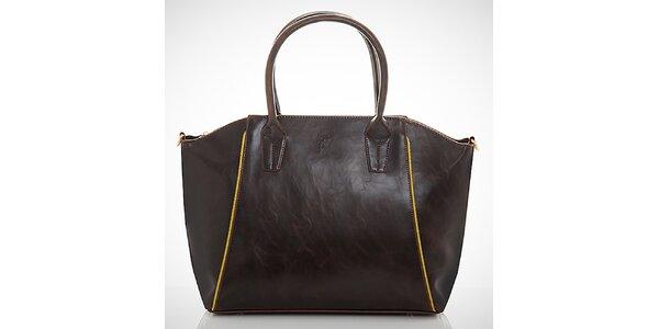 Dámská tmavě hnědá kabelka s kontrastními zipy Felice