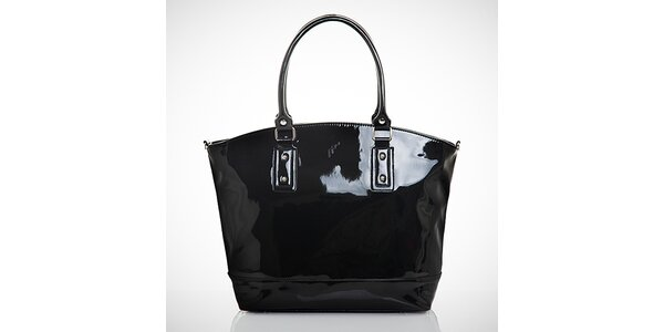 Dámská lesklá černá kabelka s vnější kapsičkou Felice