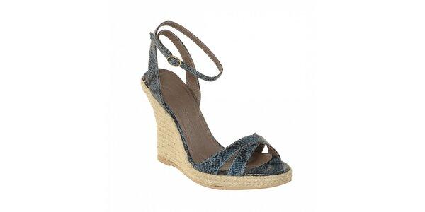 Dámská letní obuv značky Vkingas na jutovém klínu v imitaci modré hadí kůže
