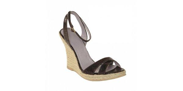 Dámská letní obuv značky Vkingas na jutovém klínu v imitaci fialové hadí kůže