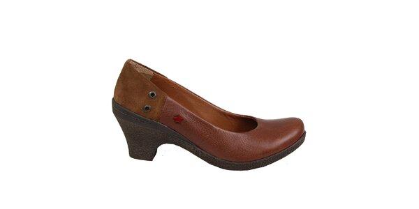 Dámské hnědé lodičky na podpatku Cubanas Shoes