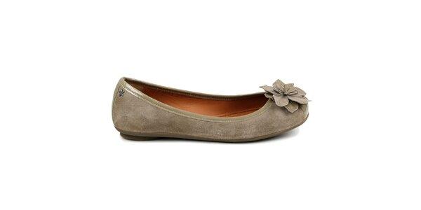 Dámské béžové baleríny s květinkou Cubanas Shoes