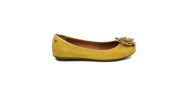 Dámské žluté baleríny s květinkou Cubanas Shoes