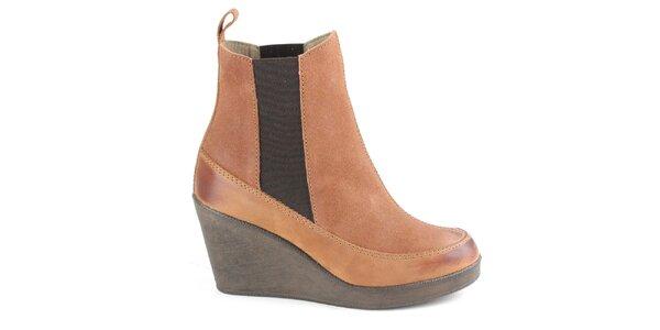 Dámské hnědé chelsea boty na klínku Cubanas Shoes