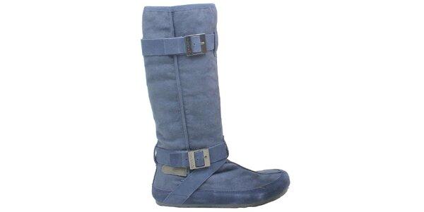 Dámské modré kozačky s přezkami Cubanas Shoes