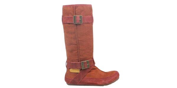 Dámské cihlově červené kozačky Cubanas Shoes