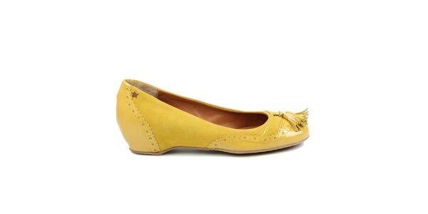 Dámské žluté lesklé baleríny Cubanas Shoes