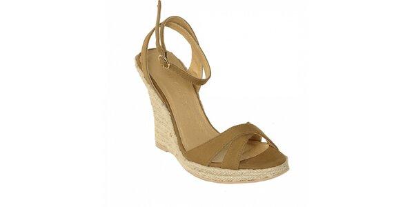 Letní obuv značky Vkingas na jutovém klínu v hnědé barvě