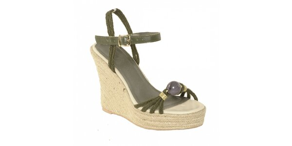Dámská letní obuv značky Vkingas na jutovém klínu s provázky v khaki barvě