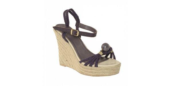 Dámská letní obuv značky Vkingas na jutovém klínu s provázky ve fialové barvě