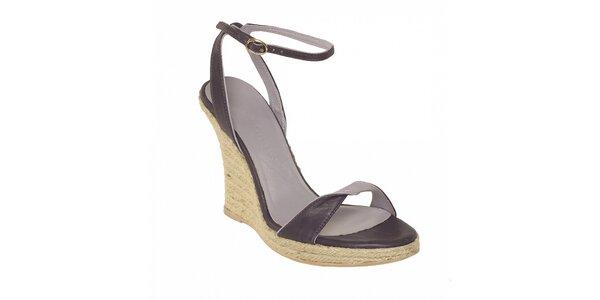 Dámská letní obuv značky Vkingas na jutovém klínu ve fialové barvě