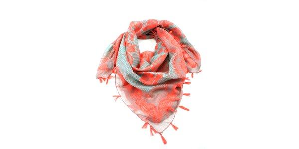 Dámský červeno-zelený šátek s potiskem Invuu London