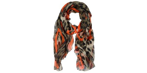Dámský žíhaný šátek s oranžovými detaily Invuu London
