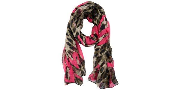 Dámský žíhaný šátek s růžovými detaily Invuu London