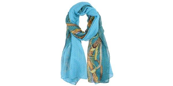 Dámský modro-hnědý šátek Invuu London
