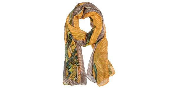 Dámský oranžovo-hnědý šátek Invuu London