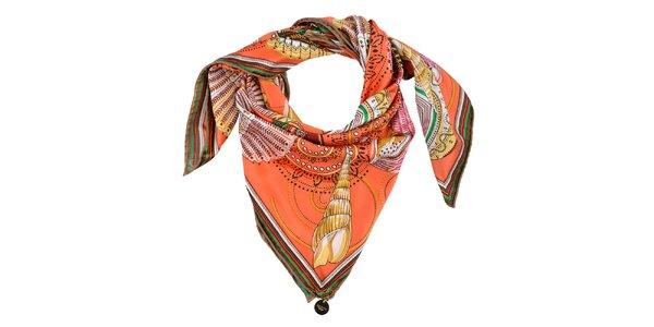 Dámský oranžový šátek s potiskem Invuu London