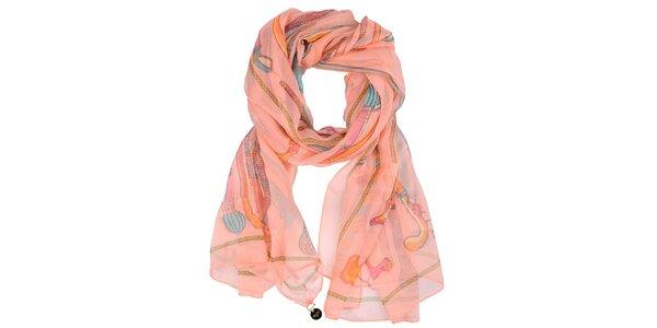Dámský korálově růžový šátek s potiskem Invuu London