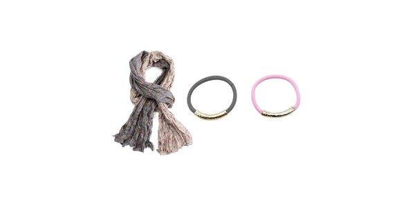 Dámský set - krémovo-šedý šátek a dva náramky - šedý a růžový Invuu London