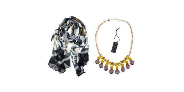 Dámský set - barevný šátek a náhrdelník Invuu London