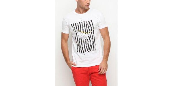 Pánské bílé tričko s krátkým rukávem a potiskem kosa Dogo