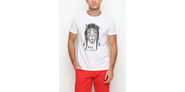 Pánské bílé tričko s krátkým rukávem a potiskem válečníka Dogo