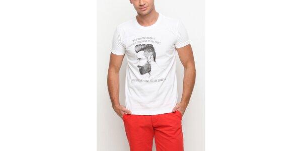 Pánské bílé tričko s krátkým rukávem a výmluvným potiskem Dogo