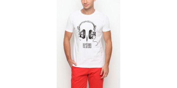 Pánské bílé tričko s krátkým rukávem a potiskem sluchátek Dogo