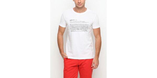 Pánské bílé tričko s krátkým rukávem a potiskem klávesnice Dogo
