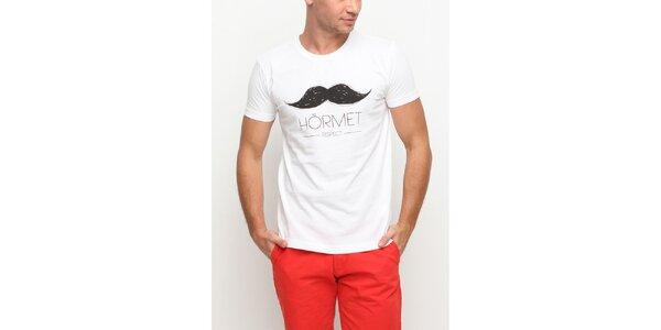 Pánské bílé tričko s krátkým rukávem a potiskem knírku Dogo