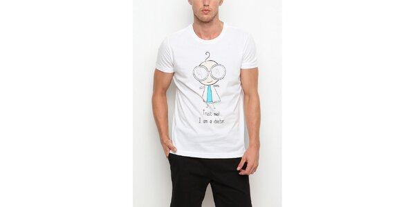Pánské bílé tričko s krátkým rukávem a potiskem doktůrka Dogo