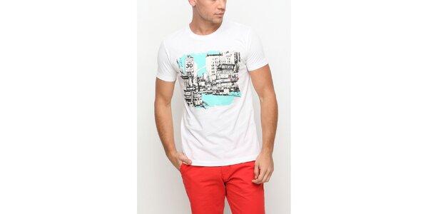 Pánské bílé tričko s krátkým rukávem a potiskem města Dogo